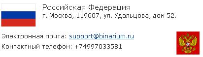 Контакты брокера бинарных опционов бинариум
